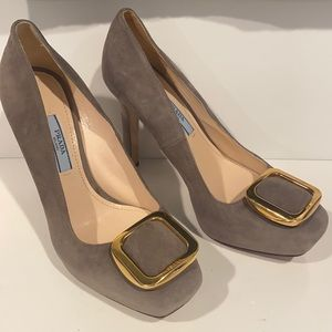Authentic Prada Suede heels with gold buckle detailing